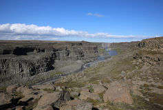 Canoyn at Dettifoss Waterfall in Iceland royalty free stock photo