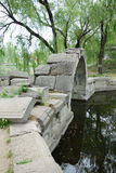 Canqiao (ruined bridge) in Beijing Yuanmingyuan. In its heydays, Yuanmingyuan had nearly 200 bridges. This bridge was a stone arch bridge over a stream outside Royalty Free Stock Image