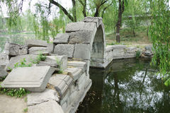 Canqiao (ruined bridge) in Beijing Yuanmingyuan. In its heydays, Yuanmingyuan had nearly 200 bridges. This bridge was a stone arch bridge over a stream outside Stock Photos