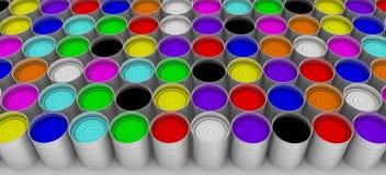 cans öppnar målarfärg royaltyfri illustrationer