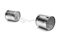 Cans. Communication.  on white background Stock Photo