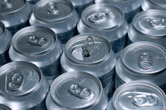 Cans. Severals soda cans in line royalty free stock image