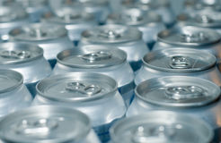 Cans. Severals soda cans in line stock image