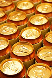Cans. Much of gold drink cans close up Royalty Free Stock Photos