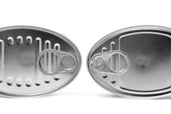 Cans. Two oval cans isolated on a white background royalty free stock photos