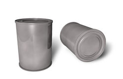 Cans. Metal cans on white backgrounds Stock Photos