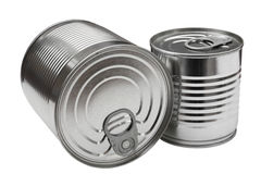Cans. Stacked cans of food isolated on white Stock Photos