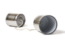 Cans. Communication cans on white background Stock Photos