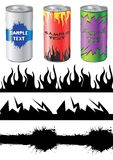 Cans. Design elements for aluminium cans Royalty Free Stock Image