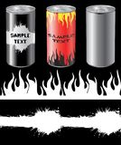 Cans. Blank can and design elements stock illustration