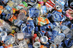 Cans aluminum pile Royalty Free Stock Images