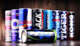 Cans of assorted global energy drink products Royalty Free Stock Photo