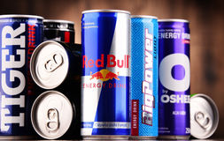 Cans of assorted global energy drink products Stock Image