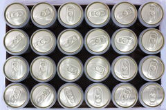 Cans background. Top view cans on white background Stock Photo