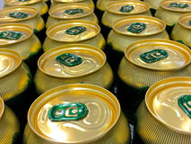 Cans of beer waiting to be opened. Lots of cans royalty free stock photos