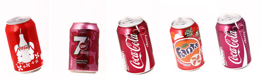 Cans of beverages. Cola Cola, 7 Up, Coca Cola Cherry, Fanta Fruit Twist Royalty Free Stock Photo