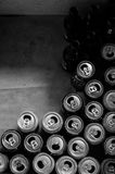 Cans and Bottles. Group of empty beer cans and bottles Royalty Free Stock Photography