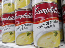 Cans of Campbell's chicken cream Royalty Free Stock Image