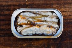 Cans of canned sardine Royalty Free Stock Photos