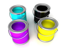 Cans with cmyk color paints cyan magenta yellow black. 3d stock image