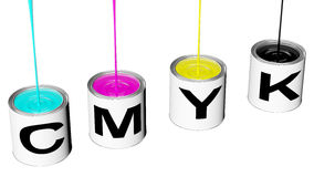 Cans with cmyk ink. Boats with cyan magenta yellow and black cmyk rendered in 3d clipping path Royalty Free Stock Photo