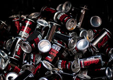Cans  of coca cola zero. Promotion of coca cola zero in one super market... lot of people were thirsty Royalty Free Stock Photography