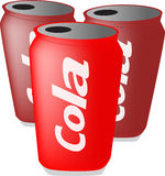 Cans of cola. Illustration of 3 cans of cola royalty free illustration