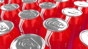 Cans of cola closeup. Multiple cans of cola with zero calories closeup 3D illustration Royalty Free Stock Photos