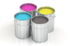 Cans with color paint, CMYK concept. 3D rendering Royalty Free Stock Photo