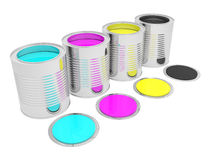 Cans with color paint Royalty Free Stock Images