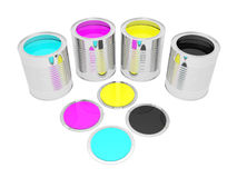 Cans with color paint Stock Photo