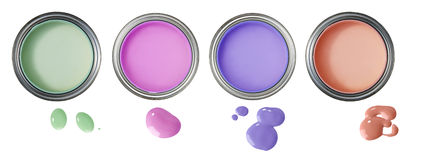 Cans and color paint drops Stock Photography