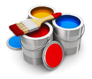 Cans with color paint and paintbrush Royalty Free Stock Images