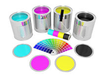 Cans with color paint and pantone Royalty Free Stock Images