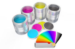 Cans with color paint and pantone color palette guide. Isolated on white background Stock Image
