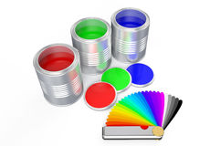 Cans with color paint and pantone color palette guide 2 Stock Image