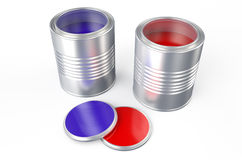 Cans with color paint, purple and red. Cans with color paint isolated on  white background Royalty Free Stock Photos