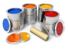 Cans with color paint and roller brush Stock Images