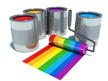 Cans with color paint, roller brush with rainbow.  Royalty Free Stock Photos