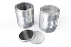 Cans with color paint, silver and black. Cans with color paint isolated on  white background Stock Images