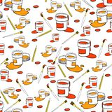 Cans with color paint on white background vector illustration