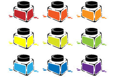 Cans of colored paint. Stock Photography