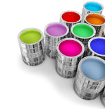 Cans with colorful paints. For painting walls in new house Stock Images