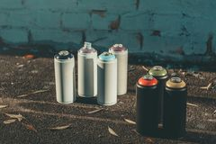 cans with colorful spray paint for graffiti royalty free stock photos