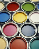 Cans, colors, paint. Cans with vibrant colors for painting stock photos