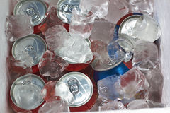 Cans of drink on ice cube Royalty Free Stock Images