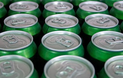 Cans in fridge Stock Images