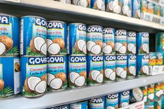 Cans of Goya coconut milk Stock Images