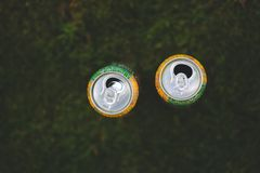 Cans in the grass Royalty Free Stock Image