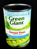 Cans of Green Giant Sweet Peas on Black Background. A can of Green Giant Sweet Peas on a black background Royalty Free Stock Photo
